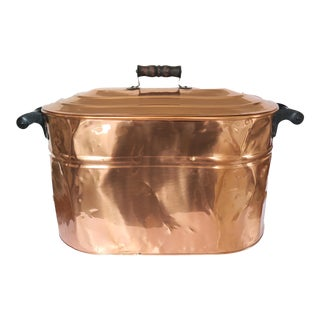 Antique French Copper Boiler Oval Oblong Washtub With Lid and Double Wood Handles
