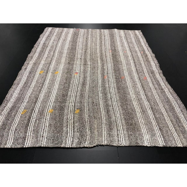 Textile 1960s Vintage Primirtive Turkish Traditional Hand Woven Tribal Area Rug- 5′8″ × 7′3″ For Sale - Image 7 of 11