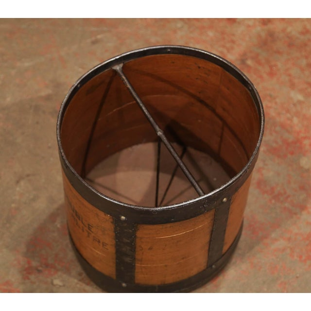 Iron Mid-19th Century French Walnut and Iron Grain Measure Basket With Inside Handle For Sale - Image 7 of 11