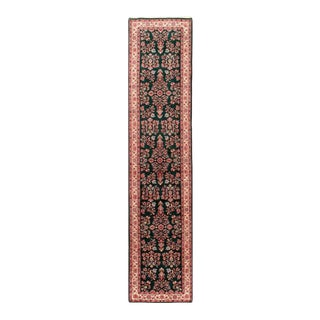 Pasargad Green Fine Hand Knotted Sarouk Runner- 2'7'' X 12'1'' For Sale