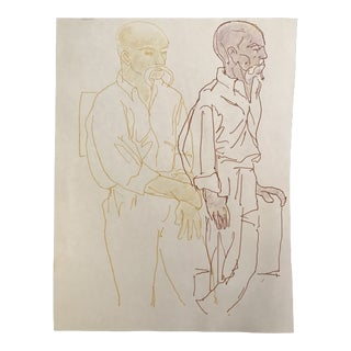 1990s James Bone Portrait of an Architect Drawing For Sale
