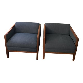 Late 20th Century Classic Thonet Walnut Blue Lounge Cube Chairs - a Pair For Sale