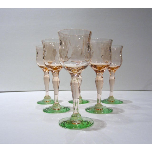 Mid-Century Modern Pink & Green Watermelon Glass Cordials - Set of 6 For Sale - Image 3 of 11