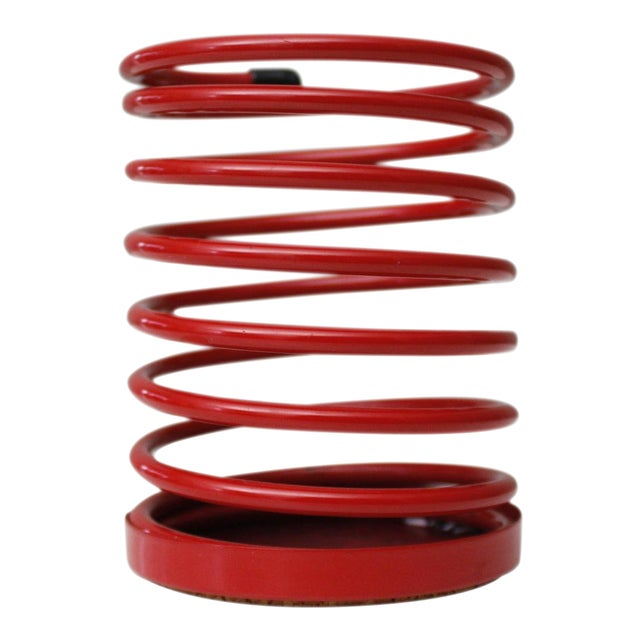 Vintage Wire Pencil Cup Red Spiral Metal Desk Organizer Post Modern 90s For Sale