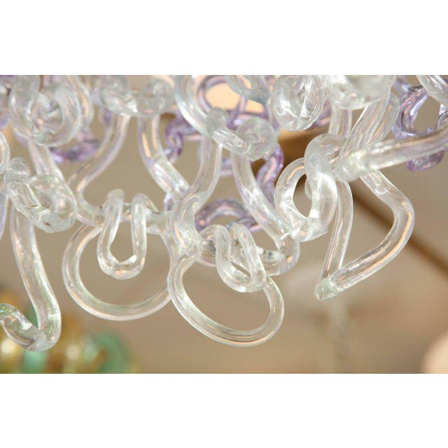Vintage Vistosi Lavender and Clear Murano Link Chandelier For Sale In New York - Image 6 of 8