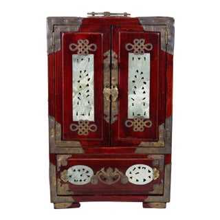 Vintage Carved Wood Jewelry Cabinet For Sale