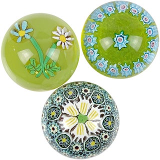 Fratelli Toso Murano Mosaic Millefiori Flower Italian Art Glass Paperweights - Set of 3 For Sale