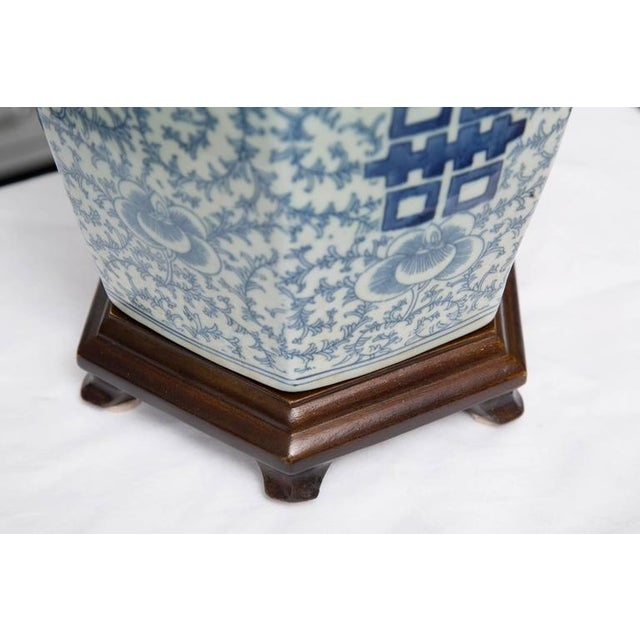 Asian Hexagon Chinese Lidded Jars as Table Lamps- A Pair For Sale - Image 3 of 6