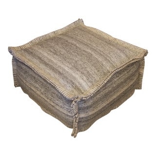 Grey Square Wool Pouf