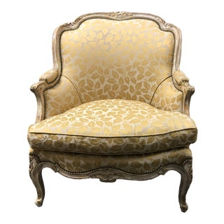 Vintage Custom Gold Leaf Print Arm Chair For Sale