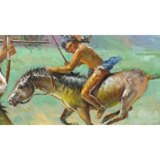 Mid 19th Century Native American Indians on Horse Oil Painting by Filastro Mottola For Sale - Image 5 of 9