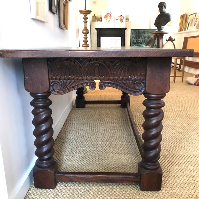 Jacobean Jacobean Style Carved Oak Refectory Table For Sale - Image 3 of 13