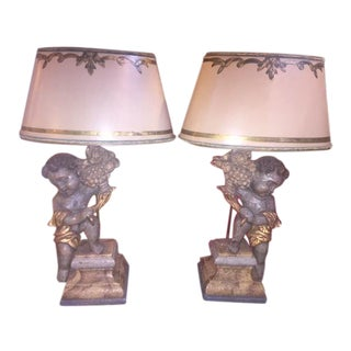 Carved Wood Putti Converted to Lamps - a Pair For Sale