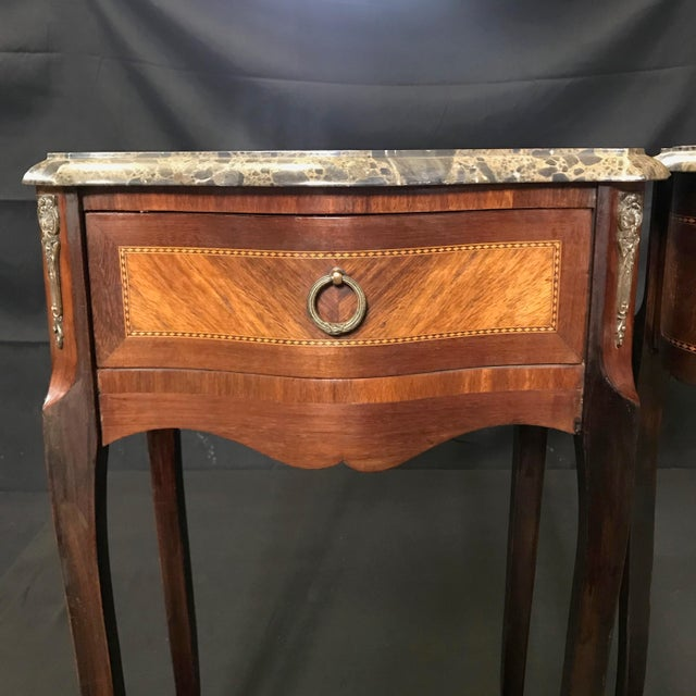 French Vintage Mahogany & Satinwood Inlay Night Stands With Marble Tops -A Pair For Sale - Image 4 of 12