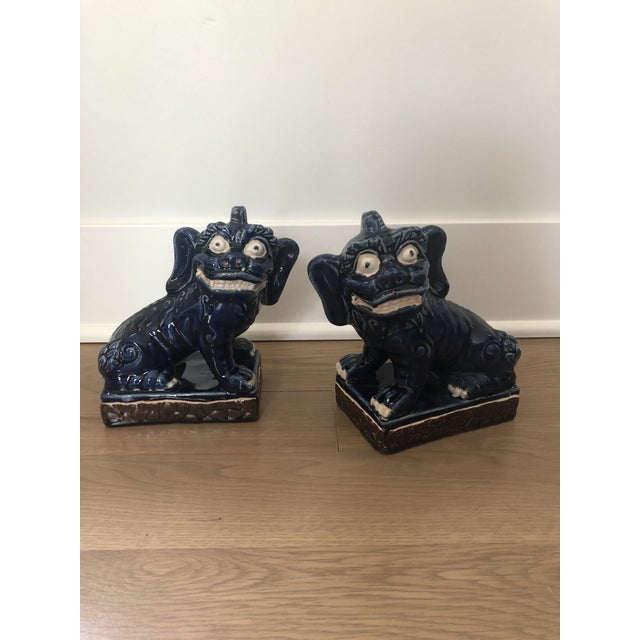 Ceramic Vintage Foo Dog Statues - a Pair For Sale - Image 7 of 8
