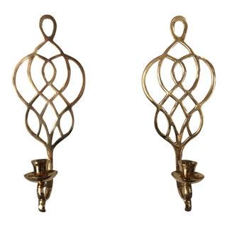 Celtic Design Brass Sconces - A Pair For Sale