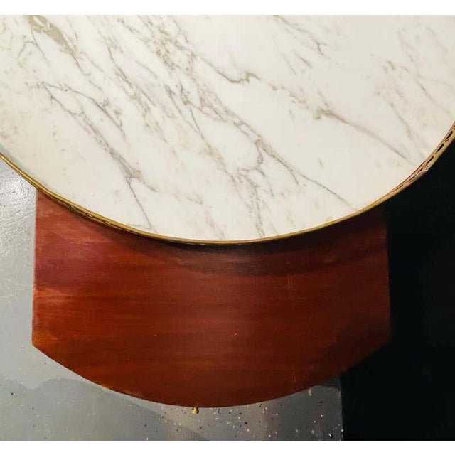 Late 20th Century Pair of Marble Top Greek Key Bouillotte or End Tables, Manner of Jansen For Sale - Image 5 of 11