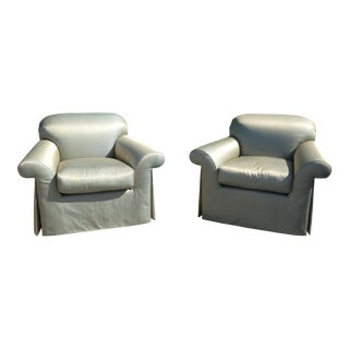 Vintage J Robert Scott Sally Sirkin Lewis Over Stuffed Lounge Chairs- A Pair For Sale