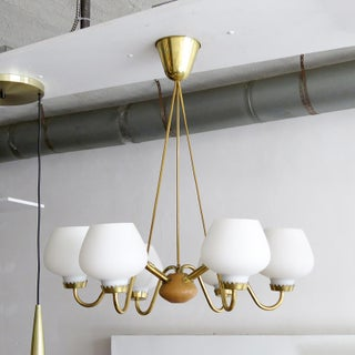 1950s Brass and Opaline Danish Six-Arm Chandelier Preview