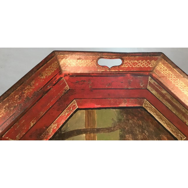 19th C. Scenic Hand Painted Tole Tray Table For Sale - Image 4 of 13