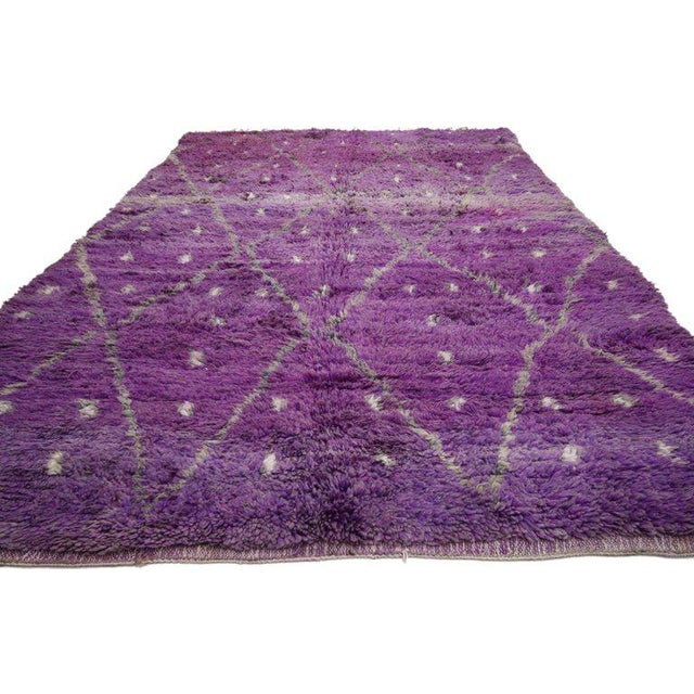 20674 Vintage Berber Purple Moroccan Rug with Diamond Pattern and Modern Tribal Style 06'07 x 10'02. This hand-knotted...