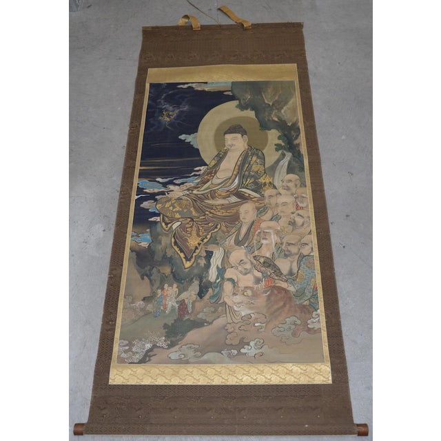 Antique Japanese Hanging Scroll With Buddha and His Disciples C.1910 For Sale - Image 12 of 12