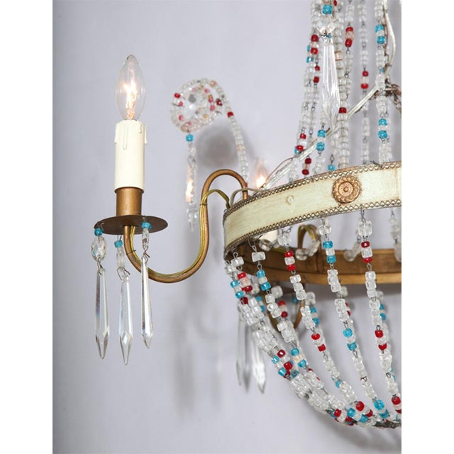 Empire Multi-Colored Glass Beaded Italian Chandelier For Sale - Image 3 of 11