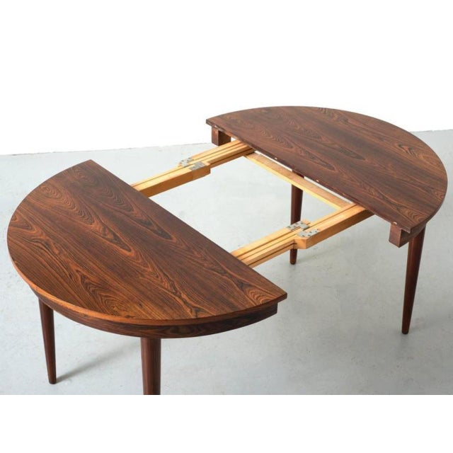 Round Hans Olsen Rosewood Dining Table with Extension Leaf - Image 3 of 9