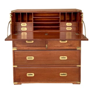 Antique Victorian Mahogany Campaign Chest For Sale