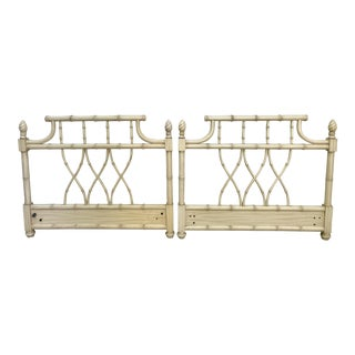 Faux Bamboo Chippendale Pagoda Twin Headboards- a Pair For Sale