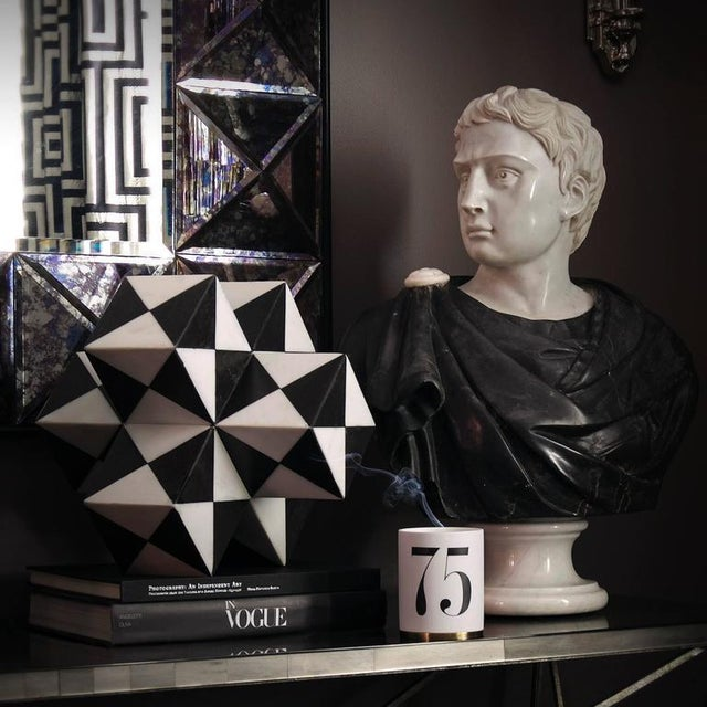 Late 19th Century Black and White Italian Marble Bust of Roman Statesman For Sale In Houston - Image 6 of 7