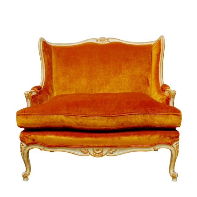French Louis XV Velvet Wingback Settee For Sale
