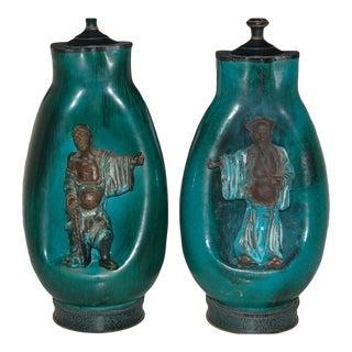 Fantoni Ceramic Chinese Scholar Lamps For Sale