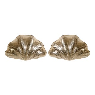 Italian Solid Brass Scallop Design Sconces - A Pair