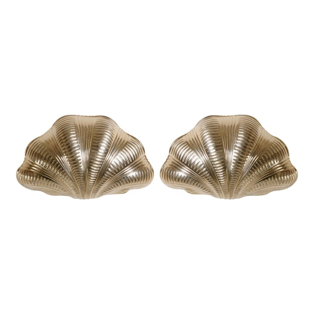 Italian Solid Brass Scallop Design Sconces - A Pair For Sale