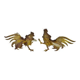 Vintage Brass Fighting Roosters - a Pair