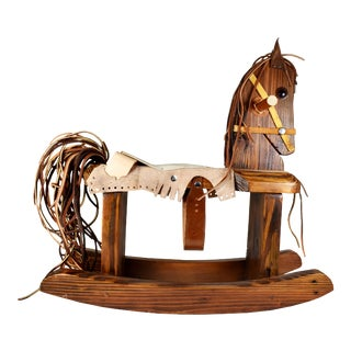 20th Century Handmade Wood Leather Rocking Horse Pony For Sale