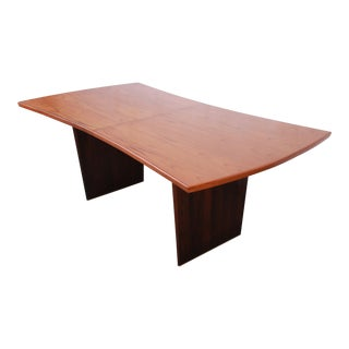 Harvey Probber Mid-Century Modern Teak and Walnut Bow Tie Extension Dining Table, Newly Restored For Sale