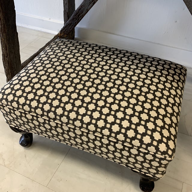 Custom Schumacher Betwixt cotton fabric on old ottoman. Great layering piece for any style interior. Legs have not been...