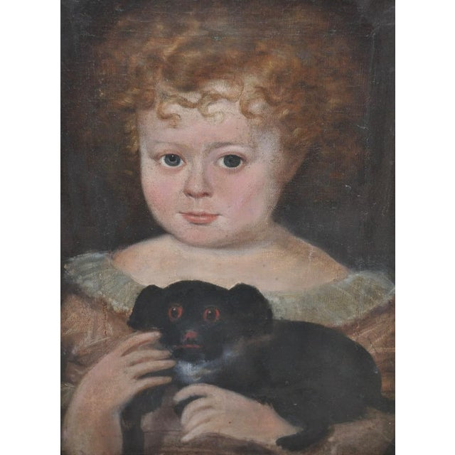 """Charming 19th Century """"Girl w/ Dog"""" Oil Painting Wonderful mid to late 19th century oil painting of a young girl with her..."""