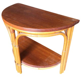 Restored Half Round Rattan Side Table With Mahogany Top For Sale