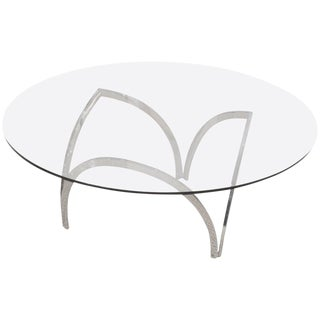 Handsome Chrome and Glass Coffee Table in the Style of Roger Sprunger For Sale