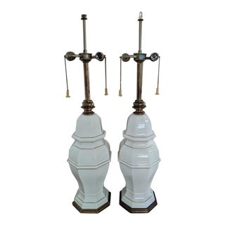 Stiffel Ginger Jar Brass and Ceramic Table Lamps - a Pair For Sale