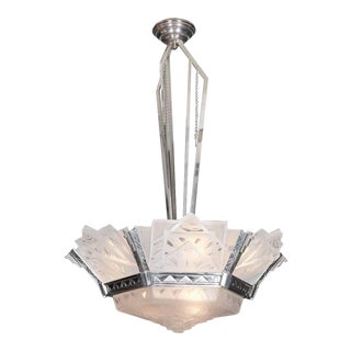 French Art Deco Original Geometric Chandelier Signed Muller Frères Luneville For Sale