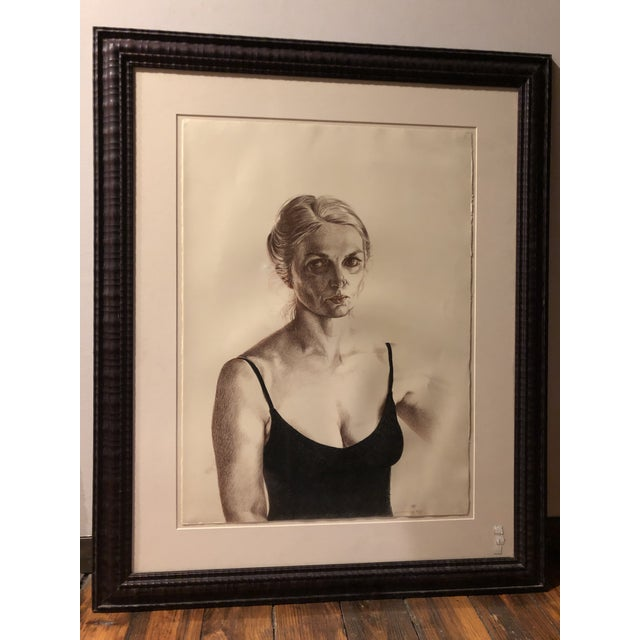 Charcoal 1981 Jill Cannady Self-Portrait Charcoal Drawing For Sale - Image 8 of 8