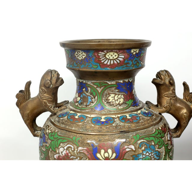 Vintage Bronze Champleve Urns With Foo Dog Handles - a Pair For Sale - Image 10 of 11