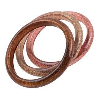 Pink Range Lucite Bracelet Bangle Silver Metallic Confetti Inclusions, a Trio For Sale