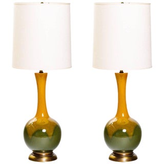 Pair of Mid-Century Modern Ceramic Long Neck Lamps For Sale