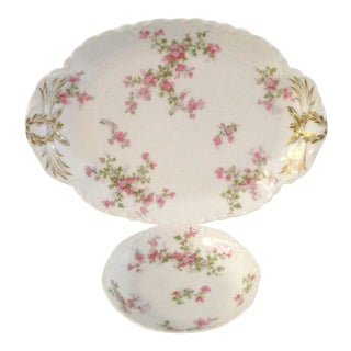 1920s French Limoges Pink Floral Serving Pieces - a Pair For Sale