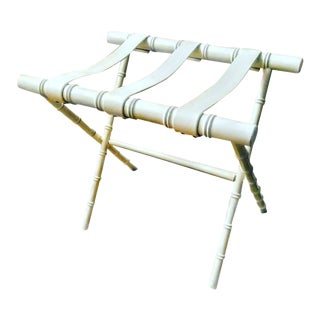 Palm Beach Regency White Faux Bamboo Luggage Rack Stand For Sale